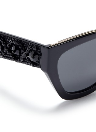 Detail View - Click To Enlarge - Prada - Floral beaded temple acetate angular sunglasses
