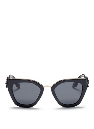 Main View - Click To Enlarge - Prada - Floral beaded temple acetate angular sunglasses