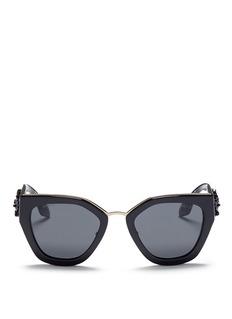 PradaFloral beaded temple acetate angular sunglasses