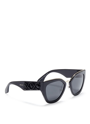 Figure View - Click To Enlarge - Prada - Floral beaded temple acetate angular sunglasses