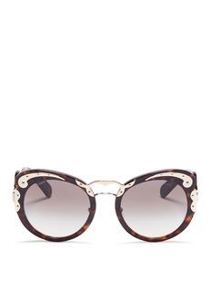 Prada'Minimal Baroque' swirl temple metal plate acetate sunglasses
