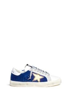 Golden Goose'May' metallic star patch leather velvet sneakers