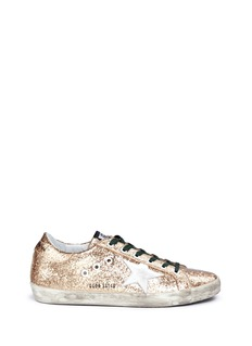 Golden Goose'Superstar' leather star patch glitter wedge sneakers
