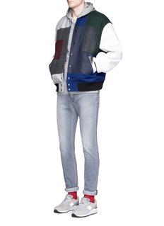 FACETASMPatchwork leather sleeve varsity jacket