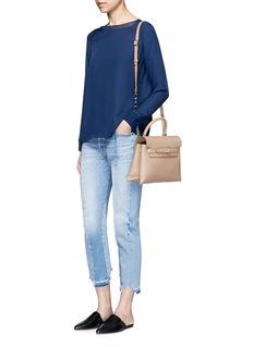 VinceRibbed trim silk georgette blouse