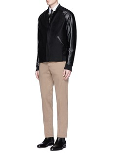 Theory 'Ferge PF' leather sleeve bomber jacket