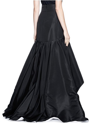 Back View - Click To Enlarge - Oscar de la Renta - Tulle insert ruffle silk faille skirt