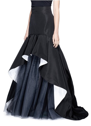 Front View - Click To Enlarge - Oscar de la Renta - Tulle insert ruffle silk faille skirt
