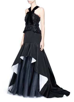 Figure View - Click To Enlarge - Oscar de la Renta - Tulle insert ruffle silk faille skirt