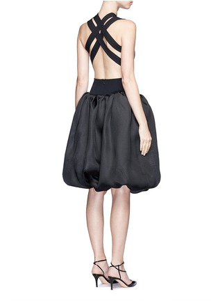 Back View - Click To Enlarge - Oscar de la Renta - Strappy back Milano knit silk combo dress