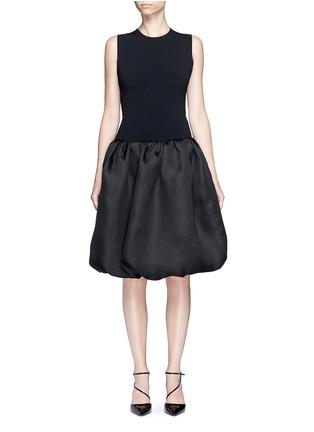 Main View - Click To Enlarge - Oscar de la Renta - Strappy back Milano knit silk combo dress