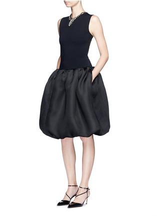 Figure View - Click To Enlarge - Oscar de la Renta - Strappy back Milano knit silk combo dress
