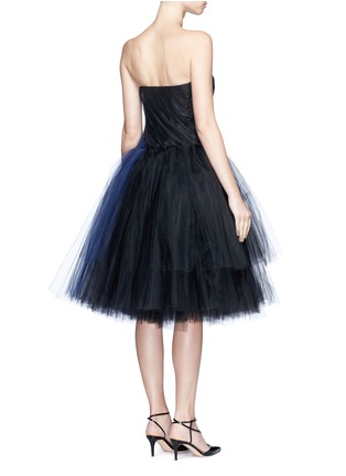 Back View - Click To Enlarge - Oscar de la Renta - Layered twist tulle strapless dress