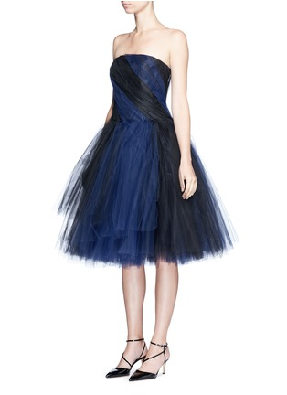 Front View - Click To Enlarge - Oscar de la Renta - Layered twist tulle strapless dress