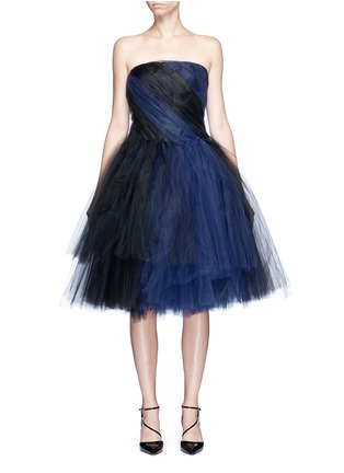 Main View - Click To Enlarge - Oscar de la Renta - Layered twist tulle strapless dress