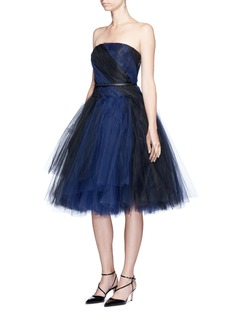 Oscar de la Renta Layered twist tulle strapless dress