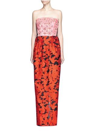 Main View - Click To Enlarge - Oscar de la Renta - Floral embellished bodice fil coupé strapless gown
