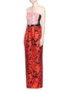 Oscar de la RentaFloral embellished bodice fil coupé strapless gown