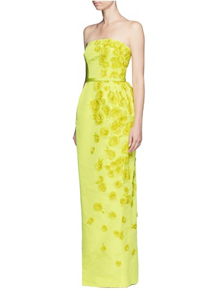 Front View - Click To Enlarge - Oscar de la Renta - Organza floral embroidery silk belted strapless gown
