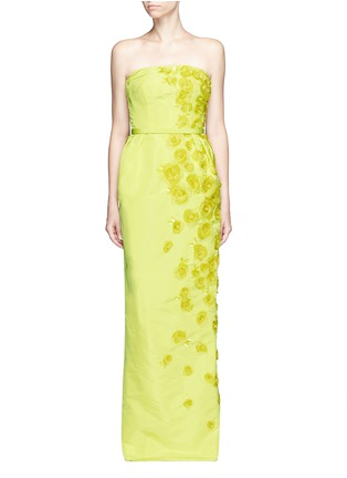 Main View - Click To Enlarge - Oscar de la Renta - Organza floral embroidery silk belted strapless gown