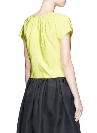 Back View - Click To Enlarge - Oscar de la Renta - Pleat squared neck silk twill top