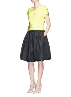 Oscar de la Renta Pleat squared neck silk twill top