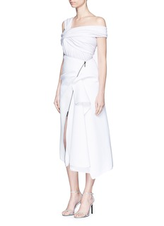 MATICEVSKI'Contradiction' asymmetric ruched drape zip skirt