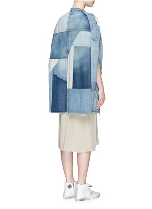 Back View - Click To Enlarge - SAINT LAURENT - Vintage patchwork denim cape