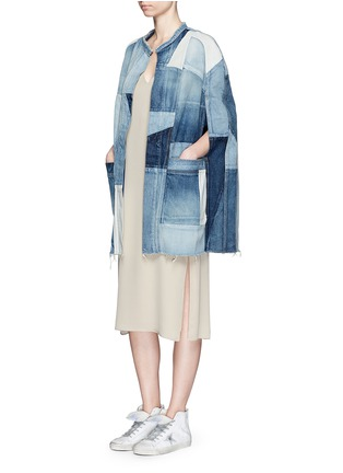Figure View - Click To Enlarge - SAINT LAURENT - Vintage patchwork denim cape