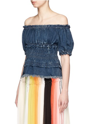 Chloé - Acid wash ruffle frayed denim off-shoulder top