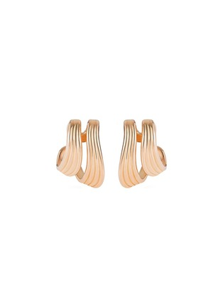 Main View - Click To Enlarge - Fernando Jorge - 'Stream Lines' 18k rose gold double hoop earrings