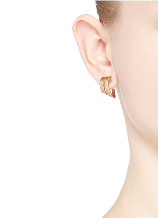 Figure View - Click To Enlarge - Fernando Jorge - 'Stream Lines' 18k rose gold double hoop earrings