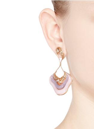 Figure View - Click To Enlarge - Fernando Jorge - 'Stream Drop' diamond opal chalcedony 18k rose gold earrings