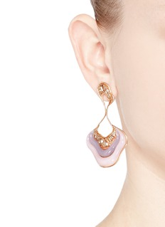Fernando Jorge 'Stream Drop' diamond opal chalcedony 18k rose gold earrings