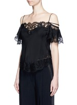 Floral lace trim silk cold shoulder top
