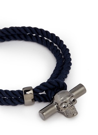 Detail View - Click To Enlarge - Alexander McQueen - T-bar skull rope bracelet