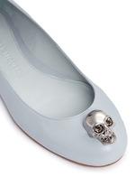 仿水晶骷髅头真皮平底鞋