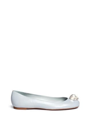 Alexander McQueen-Crystal skull leather ballerina flats