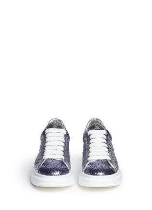 正面 -点击放大 - ALEXANDER MCQUEEN - 亮片拼色真皮厚底球鞋