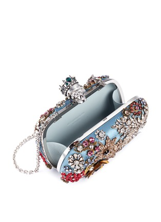 Detail View - Click To Enlarge - Alexander McQueen - Floral jewelled skull satin box clutch