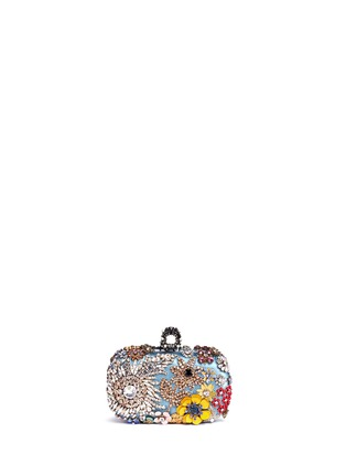 Back View - Click To Enlarge - Alexander McQueen - Floral jewelled skull satin box clutch