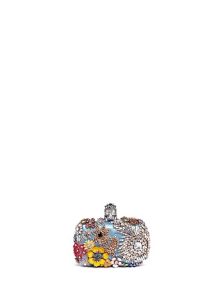 Main View - Click To Enlarge - Alexander McQueen - Floral jewelled skull satin box clutch