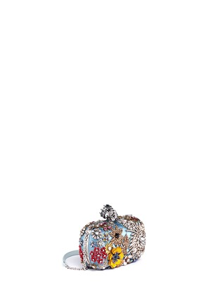 Figure View - Click To Enlarge - Alexander McQueen - Floral jewelled skull satin box clutch