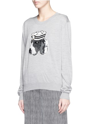 Front View - Click To Enlarge - MARKUS LUPFER - 'Sailor Dog' sequin Joey sweater