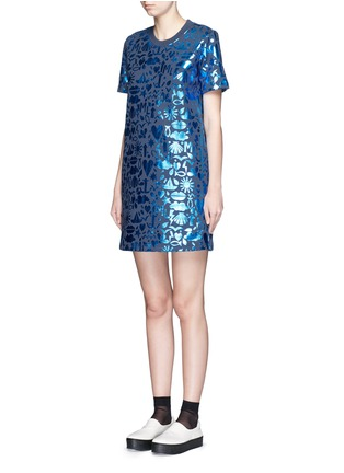 Front View - Click To Enlarge - MARKUS LUPFER - 'Treasure Stencil Foil' print Millie sweatshirt dress