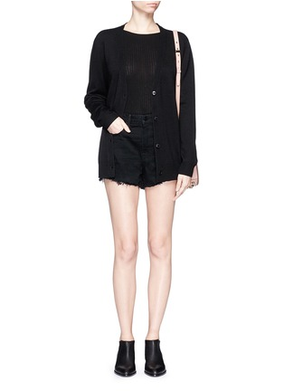 Figure View - Click To Enlarge - Alexander Wang  - 'Bite' frayed cuff denim shorts