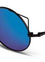 Wire cat ear round mirror sunglasses