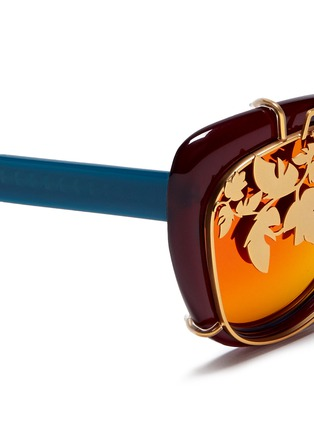 Detail View - Click To Enlarge - Matthew Williamson - Leaf cutwork clip-on acetate sunglasses