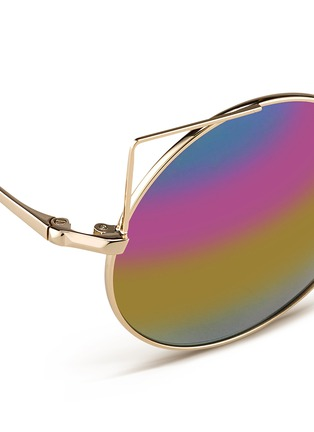 Detail View - Click To Enlarge - Matthew Williamson - Wire cat ear round mirror sunglasses