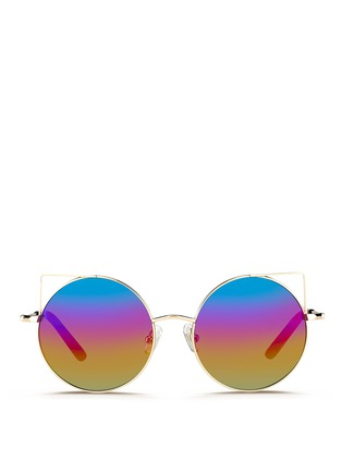 Main View - Click To Enlarge - Matthew Williamson - Wire cat ear round mirror sunglasses